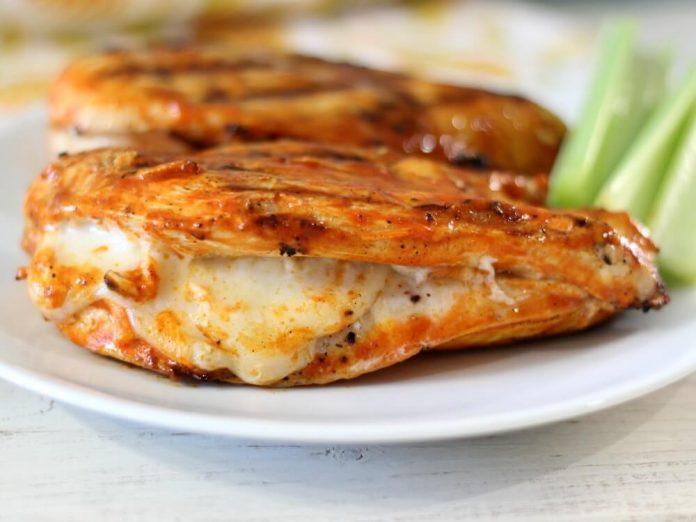 Grilled Buffalo Chicken with Mozzarella
